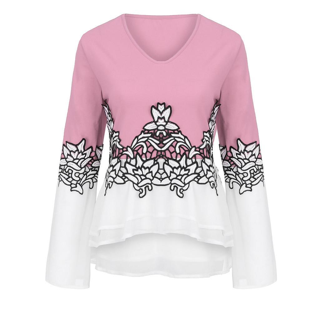 09524d4b27c1 Women Plus Size Flower Lace Color Block Chiffion Blouses Fashion Ladies  Womens V Neck Flare Sleeve T Shirt Top Chemise Femme Shop For T Shirts Shop  For T ...