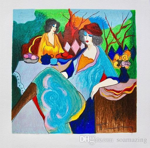 Itzchak Tarkay TEA TIME Senhora Cafe Retratos de Arte, Pintado À Mão / HD Impressão Pintura A Óleo Da Arte Da Parede Na Lona. Multi Tamanhos Personalizados / Frame It82