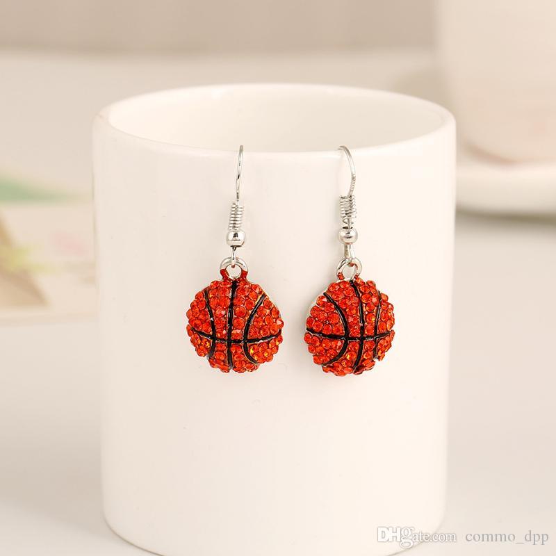 Mulheres Sports brincos de cristal Bola de softbol beisebol Basquetebol Voleibol Rugby Football Soccer Dangle brincos para jóias femininas