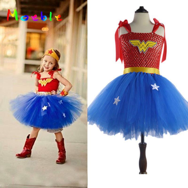 Acheter Dernières Filles Wonder Woman Tutu Robe De Noël Nouvel An Costume  Super Hero Fille Tutu Robe Accessoires Photo Fantaisie Cosplay Vêtements De   17.26 ... f9b8c95506d