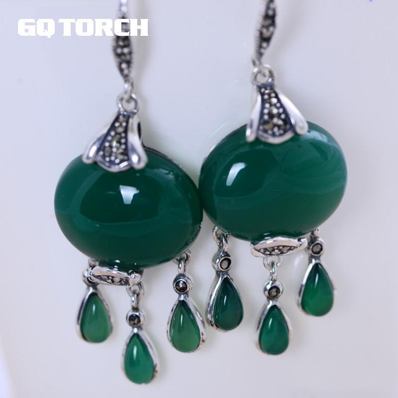7fc6656074e1 Compre Gqtorch Natural Negro Verde Onyx Clásico Borlas Pendientes Real 925  Joyas De Plata Oorbellen Voor Vrouwen A  38.16 Del Zaonoodle