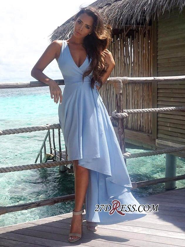 Light Sky Blue Sexy High Low Short Prom Dresses 2018 New Deep V Neck A Line Beach Cocktail Formal Party Wear BA7197