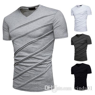 612884f14 Large Size Men Summer Wrinkle T Shirt V Neck New Fashion Casual Solid  Cotton Short Top Man Short Sleeves T Shirt Cool Sweatshirts Online Random  Funny T ...
