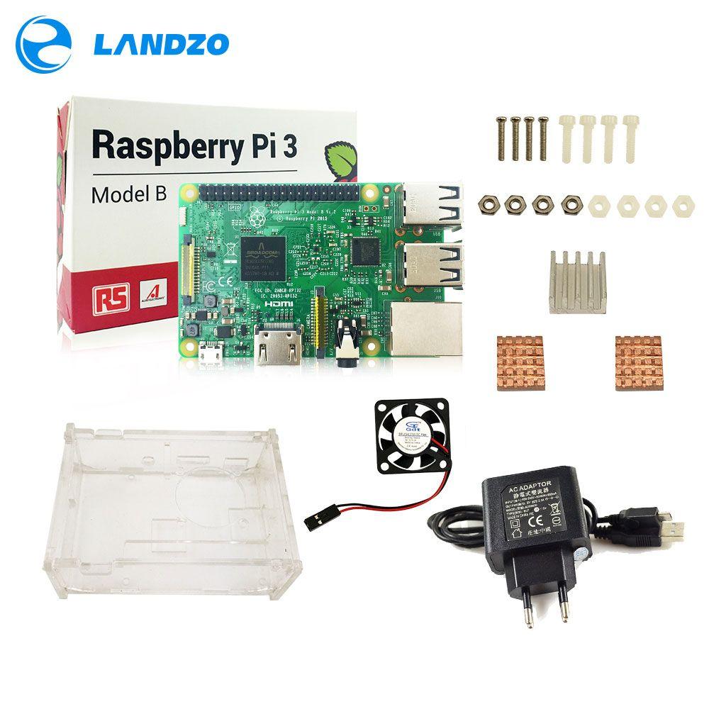 D Raspberry Pi 3 Model B starter kit-pi 3 board / pi 3 case /EU power  plug/pi3 b logo Heatsinks/ with wifi & bluetooth