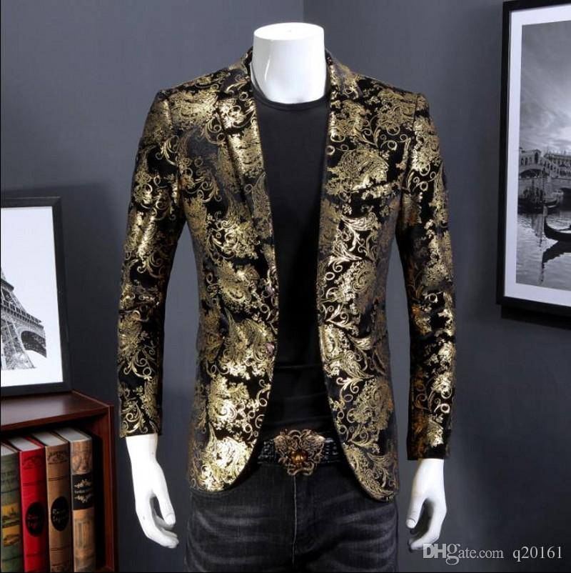 Printed Velveteen Suit Men's Coat Costume Blazers Retro Gentleman Style Tailor Commerce Party Slim Fit De Mariage Pour Hommes