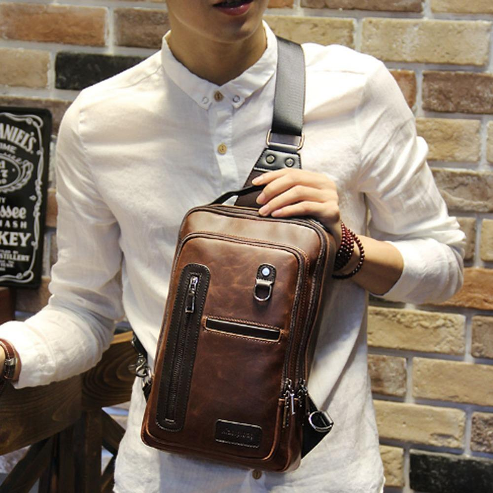 f2a44fb9b21f96 2018 New Men s Handbag Sling Chest Pack Back Pack PU Leather Travel ...