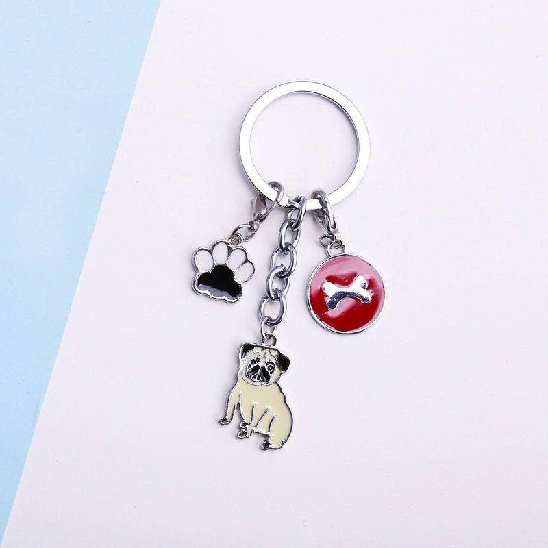 Pet Dachshund Pug Dog Key Chain Metal Key Ring Pom Gift For Women Girl Bag  Charm Keychain Pendant Women Jewelry Dog lovers gift 14748ba8b