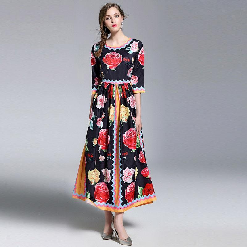 acfca009a0 Compre Lady Print Vestidos Largos Slim Fit Vestidos De Verano Mujeres Retro Impreso  Floral Maxi Vestido De Noche Vestido A  45.13 Del Sinofashion