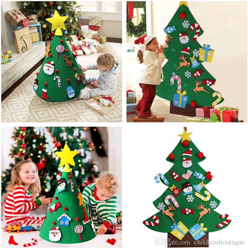 Christmas Tree Toys Decoration.Christmas Baby Toys 3d Diy Felt Toddler Christmas Trees Toys New Year Kids Gifts Toys Artificial Tree Xmas Home Decoration Hanging Ornaments
