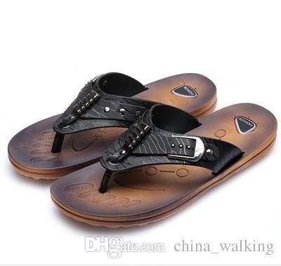 f1cde5420764f Summer Beach Flip Flops Men Pu Slippers Male Flats Sandals Outdoor ...