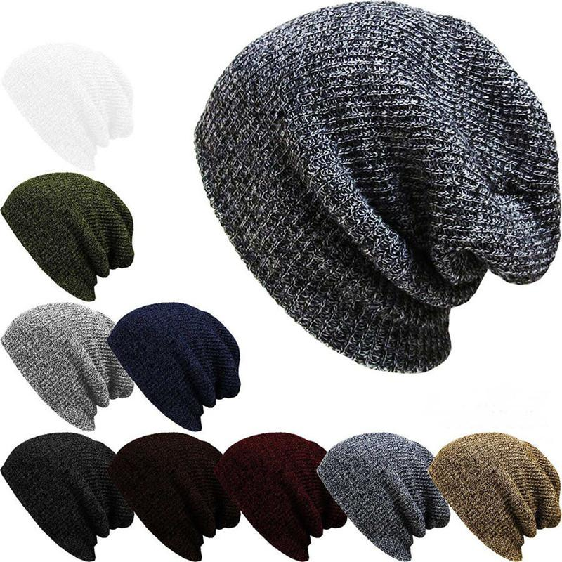405e51fb0fc 2019 Men Slouch Skull Cap Oversize Knitted Casual Long Beanie Skullies  Autumn Winter Unisex Knitted Hat Baggy Cap From Peachguo