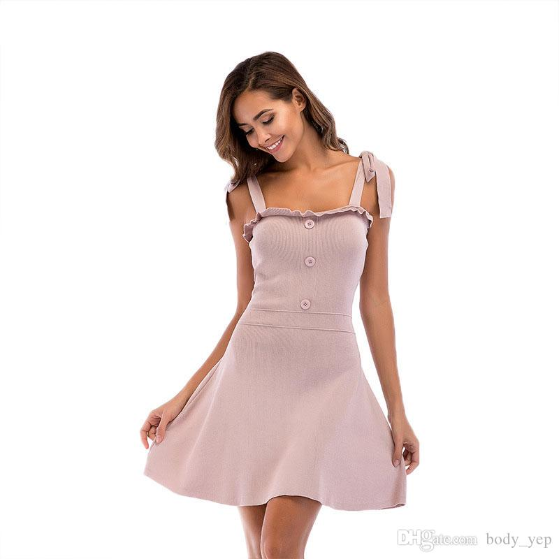 cba1cccdeb Women Knitted Dresses Sexy Fashion Braces Skirt Club Slim Bodycon ...