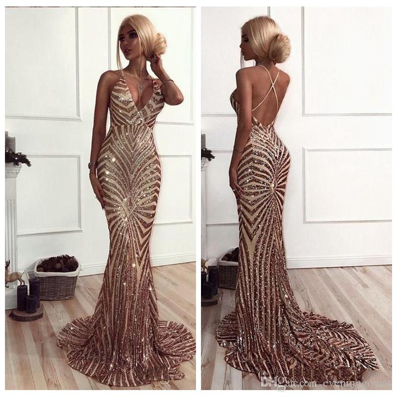 0b4d78b99c Mermaid Rose Gold Sequins Prom Dresses 2019 African Luxury V Neck Sweep  Train Backless Prom Dresses Evening Wear Buy Prom Dresses Online Classic  Prom ...