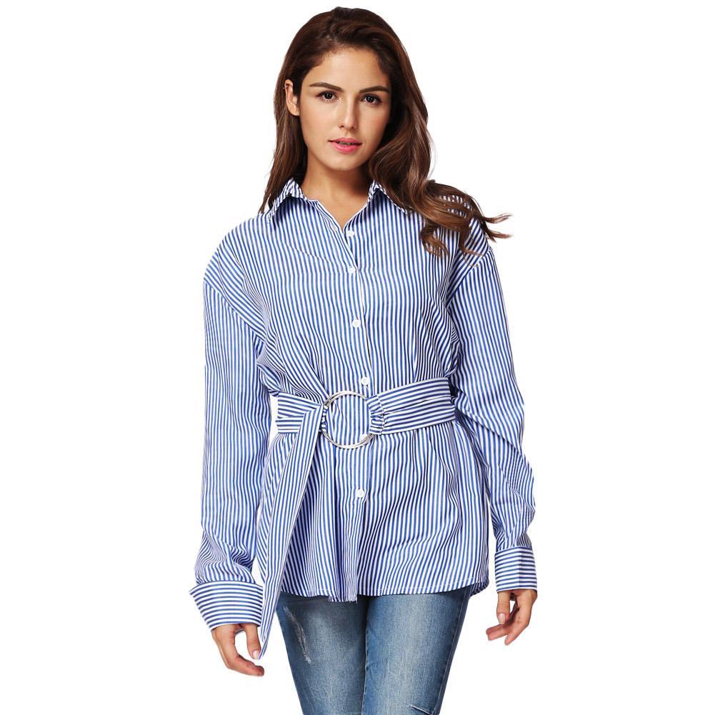 a2e42ebbc7 Compre Nova Moda Feminina Azul Camisa Listrada Botão De Manga Longa Para  Baixo Camisa Turn Down Collar Solto Elegante Senhoras Outono Tops Com Cinto  De ...