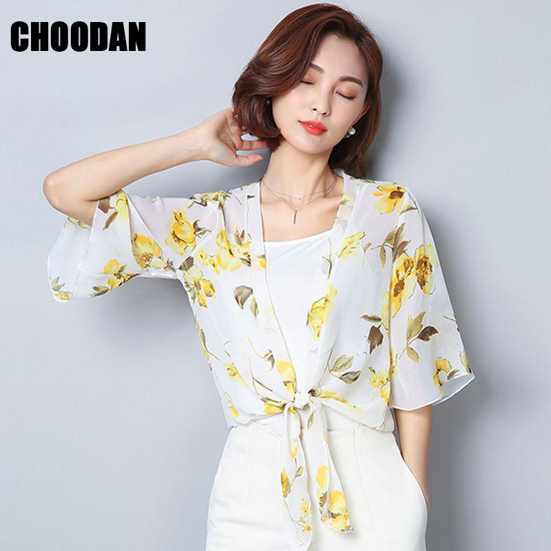 d8ca116814 2019 Kimono Cardigan Women Chiffon Floral Print Summer Top Short Sleeve  Blouse Shirt Female 2018 Lady Casual Korean Fashion Clothing From Shipsoon