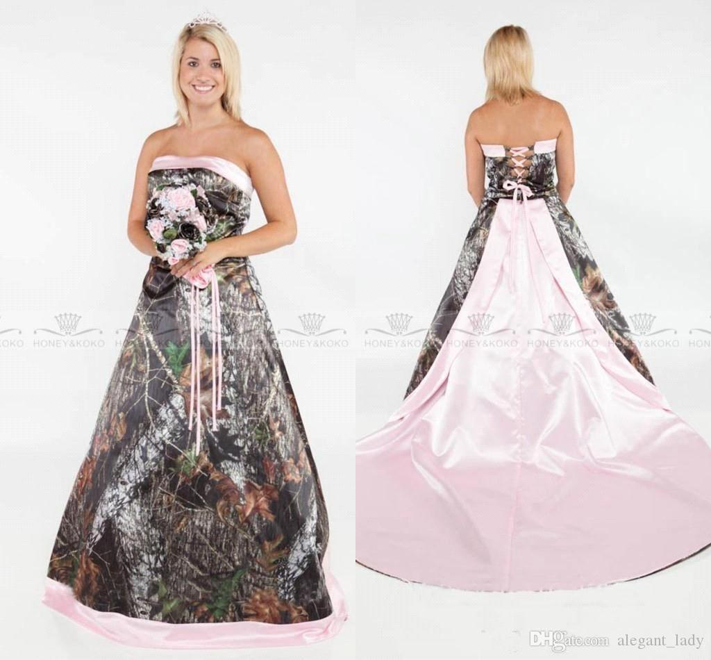 Vintage Strapless 2018 Camo country Wedding Dresses Forest Satin Pink Edged Lace Up and Removable Train Plus Size realtree Bridal Gowns