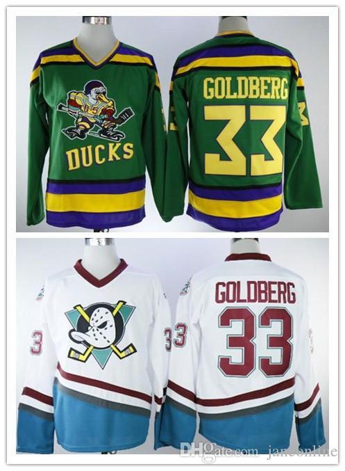 f1509c3c5 2019 Anaheim Mighty Ducks Greg Goldberg Jersey 1996 Vintage Movie Jersey  Worn White Green Stitched Sewn Anaheim Ducks Greg Goldberg Hockey Jersey  From ...