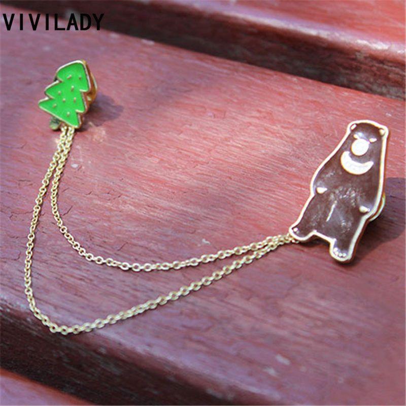 VIVILADY Classique Émail Ours Arbre Collier Broche Pins Insigne Femmes Bijoux Accessoire Costume De Noël Anniversaire Cadeaux