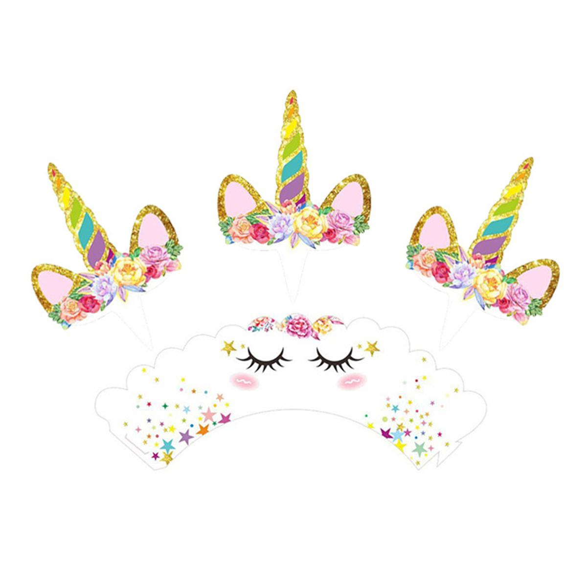 Kids Loved Rainbow Unicorn Cupcake Cake Wrappers Toppers Baby Shower Kids Children Birthday Party Decorative Supplies