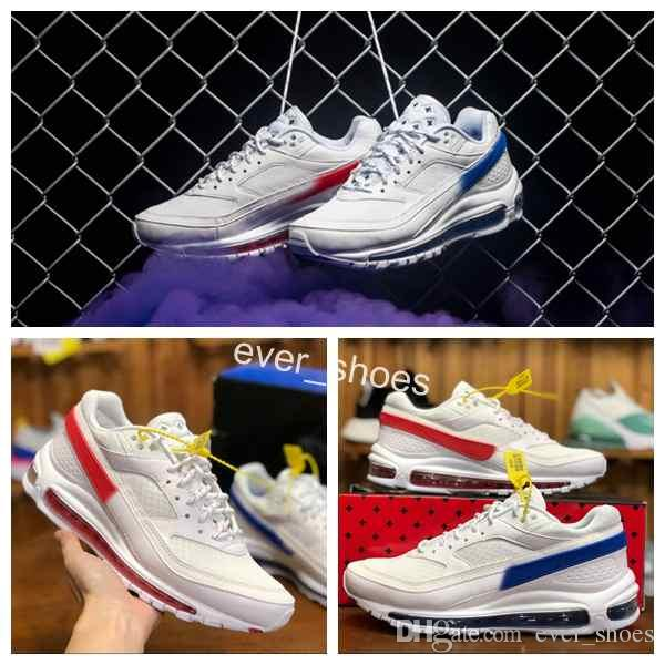 super popular f89d1 6236e Acheter Nike Air Max Brand 97 BW X Skepta London Bronze White Red Blue Two  Tone Sports Running Shoes 97s Mens AO2113 100 Trainers Designer Sneakers De  ...