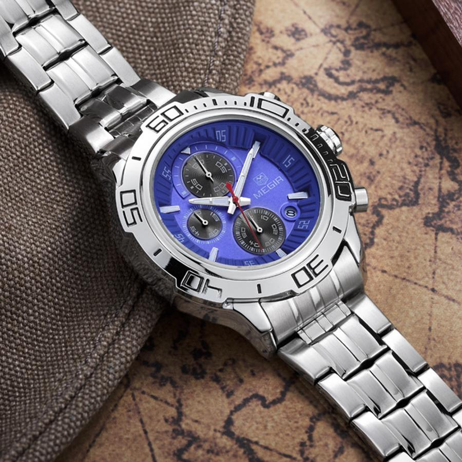 2018 new luxury brand MEGIR fashion casual sports men's watch three-pin waterproof multi-function quartz men's quartz watch 2019. Men's gift