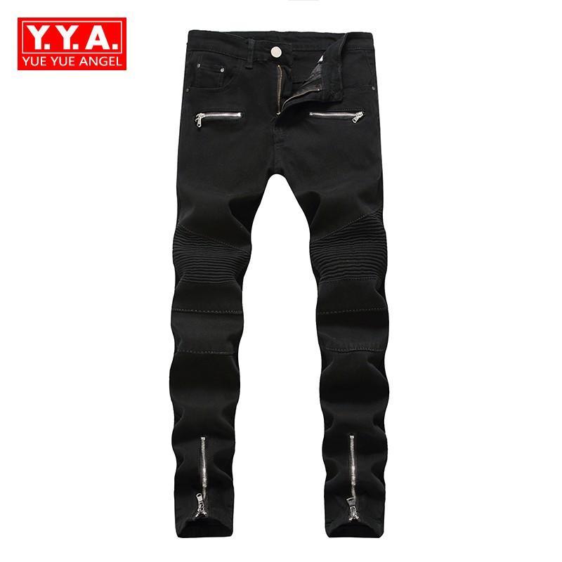 2d6b8eae246 Acheter Jeans Hommes 2018 Nouvelle Mode Printemps Slim Fit Pantalon  Streetwear Motor Hommes Jean Straight Full Length Cowboy Pantalon Homme  Plus La Taille ...