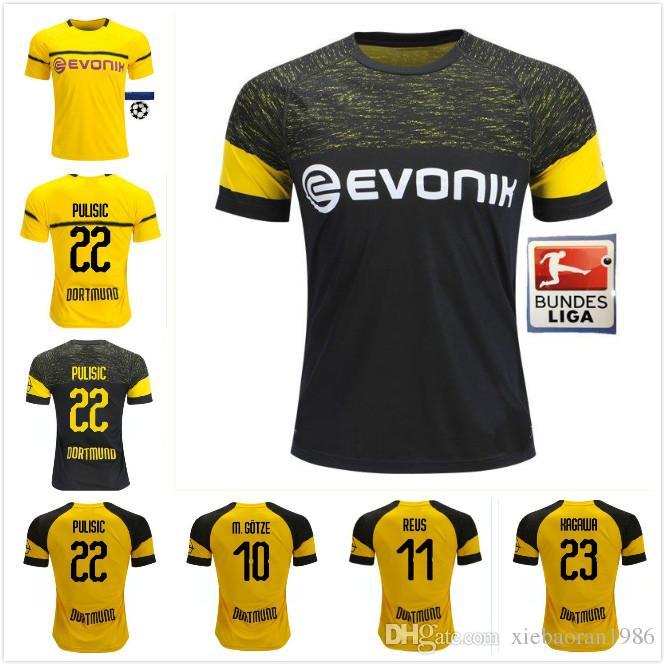 dc2cd85d8a Compre 3 Dortmund 18 19 Reus Camisa De Futebol Amarelo 2018 2019 AUBAMEYANG  GOTZE KAGAWA DEMBELE PULISIC Fora Camisas De Futebol Pretas Uniformes De ...