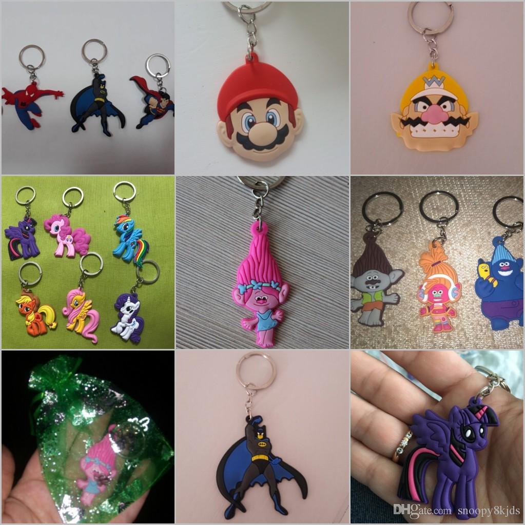 Nuovo arrivo troll papavero personaggio dei cartoni animati bella portachiavi alta qualità portachiavi ciondolo catena chiave in pvc accessori bambini giocattolo regalo