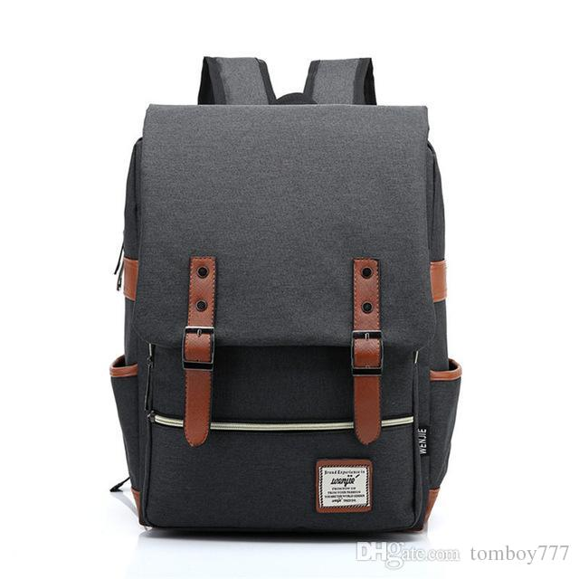 2018 Vintage Canvas Backpack Women Travel Rucksack Laptop School Bags For  Teenagers Girls Mochila Men Shoulder Bag Female Li86 Black Leather Backpack  ... e25f1c94c3f30