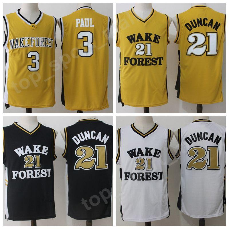 294ca9fce1f 2019 Wake Forest Demon Deacons Jerseys College Chris Paul 3 Tim Duncan 21  Basketball University Jersey Men Team Black Yellow White High Quality From  ...