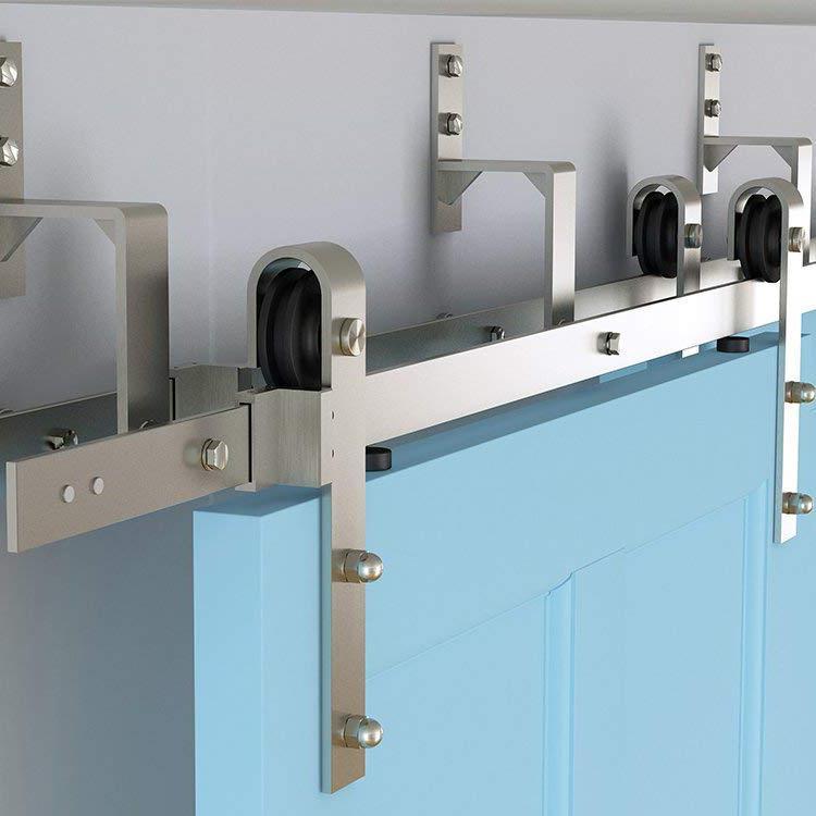 2018 Brushed Nickel Steel Bypass Double Sliding Barn Door Hardware