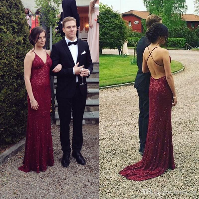 fb991ad9652 New Arrivals 2018 Burgundy Sequin Prom Dress Spaghetti Straps Fitted  Backless Shiny Vestidos De Fiesta Long Elegant Dresses Long Prom Dresses Uk  From ...