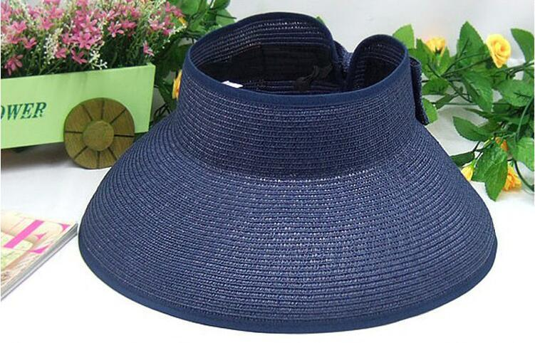 Summer women wide brim hats visor cap with bowknot foldable beach hats portable straw hats sun protection hat outdoor alpine cap