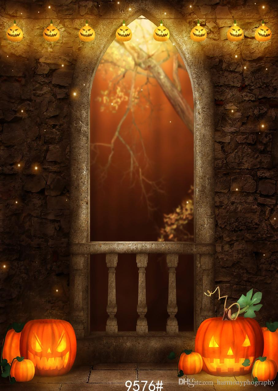 2018 halloween backdrop pumpkins old house door night photography backdrops vinyl cloth customize backgrounds for photo studio from harmonyphography