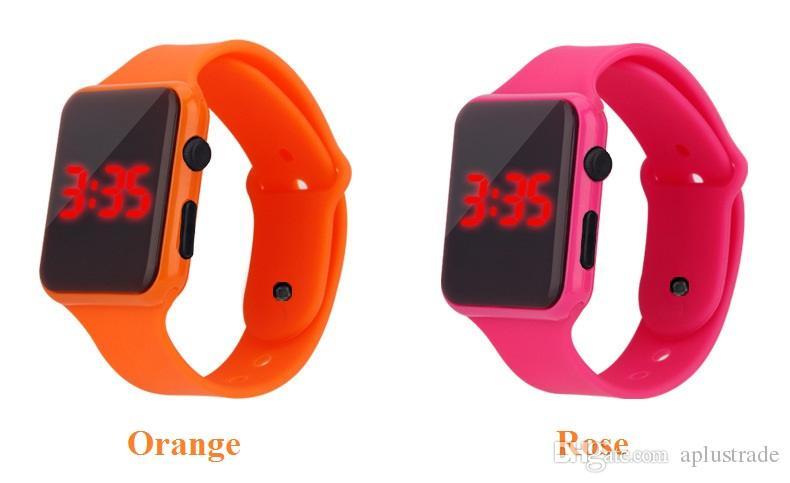square design unisex mens women sport rubber silicone led touch digital watch wholesale fashion students sport bracelet watches