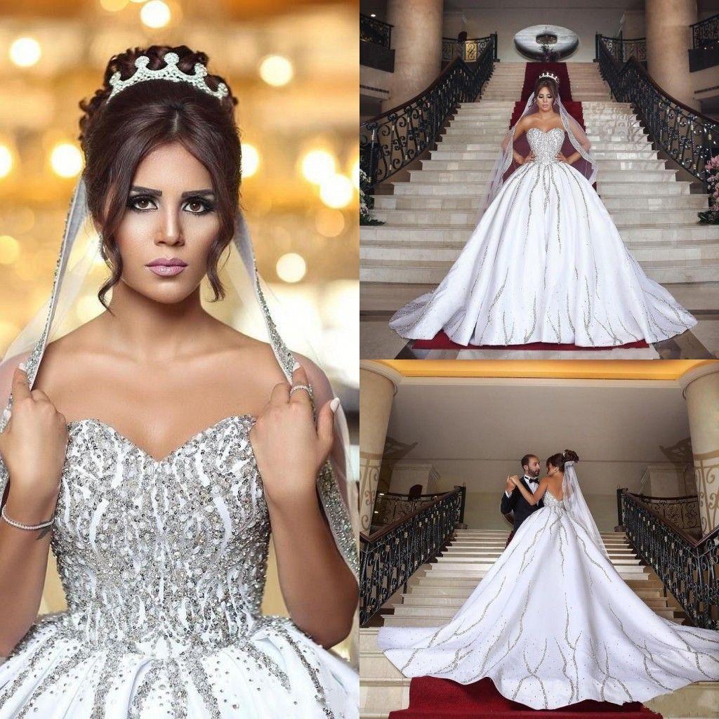 2018 Bling Ball Gown Wedding Dresses Arabic Sweetheart Dubai V Open ...