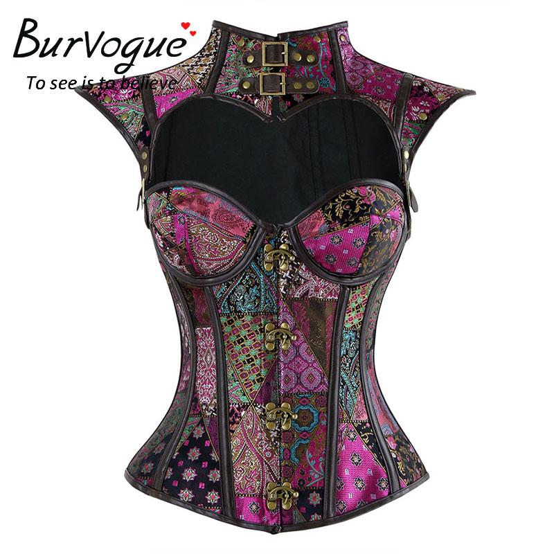 02369f54611fa Burvogue steampunk corset tops gothic steel boned overbust jpg 800x800 Party  corset tops