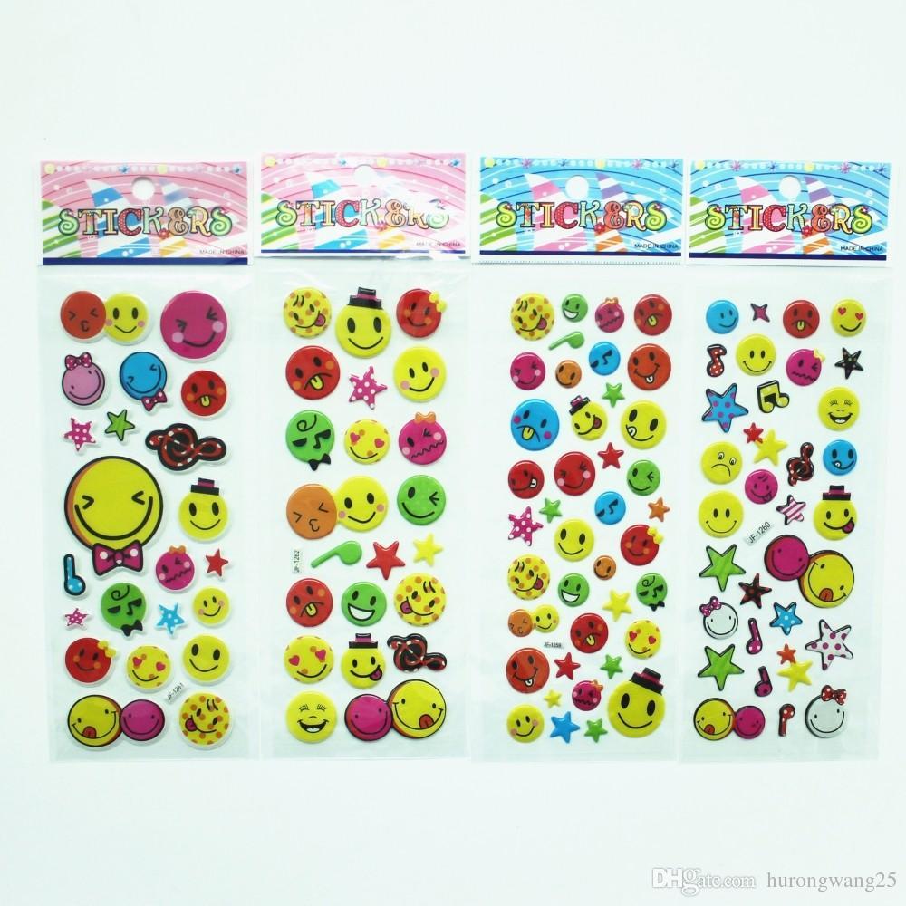 100 قطع جديد كارتون مبتسم وجه فقاعة ملصق مائي الأطفال منظور فقاعة ملهمة جائزة ملصقا اللعب