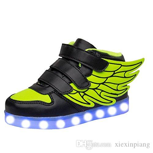 a642aa03f60b Children Led Shoes For Kids Wings Shoes Casual Colorful Glowing Baby Boys  And Girls Sneakers USB Charging Light Up Shoes Multi Kid Girl Shoes Kids  Boot Sale ...