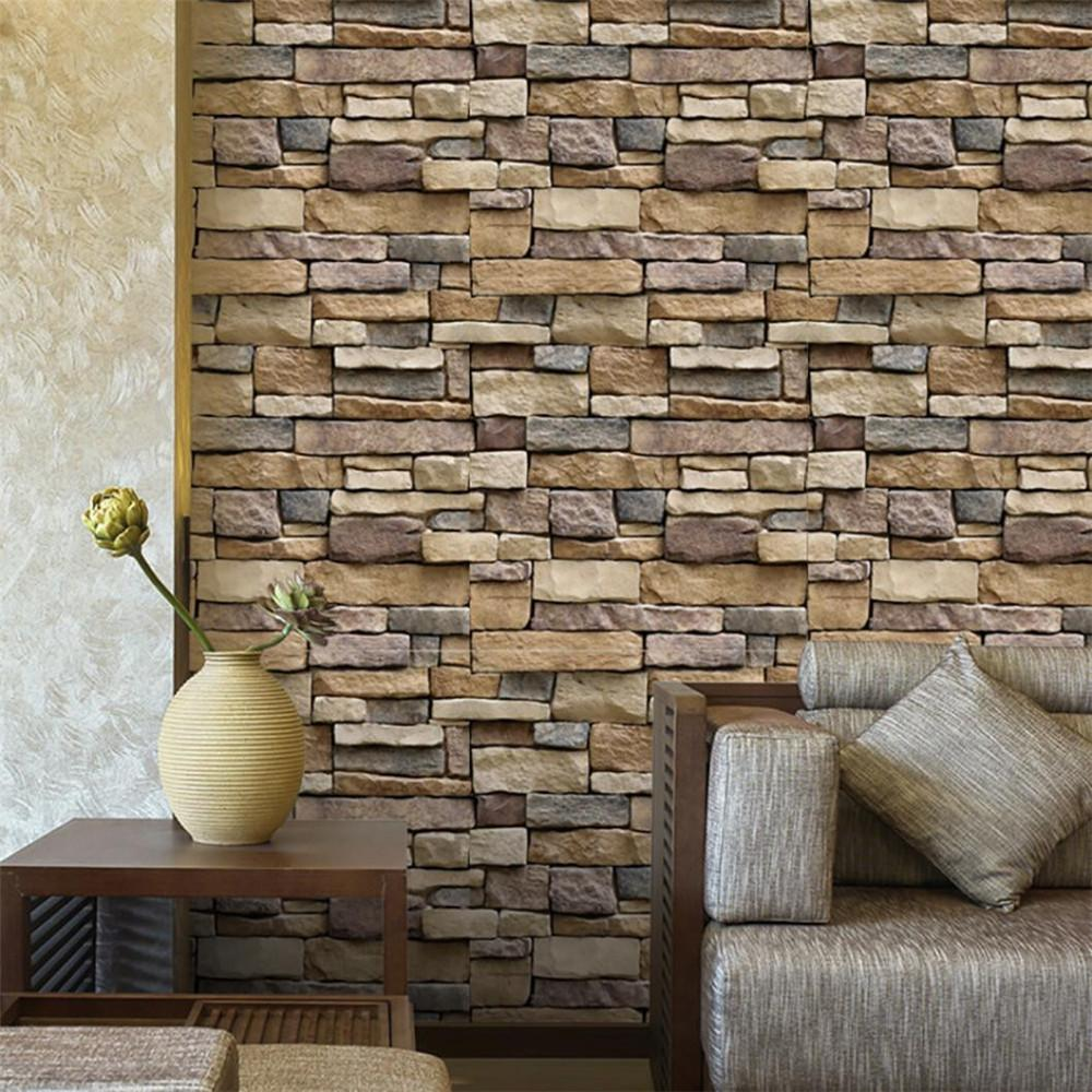 2018 Fashion Home Garden 3D Wall Paper Brick Stone Effetto rustico autoadesivo adesivo da parete Home Decor