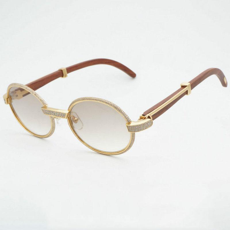 5c4d0da7f4538 Compre Luxo Diamante Óculos De Sol De Madeira Óculos Retro Shades Homens  Pedra Óculos De Sol Redondo De Metal Strass Óculos De Armação Gafas De  Kuanbao, ...