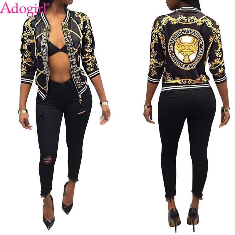 c616eb36024 Adogirl Fashion Print Women Bomber Jacket Long Sleeve Zipper Slim Baseball  Outwear High Quality Ladies Spring Autumn Coats Tops Winter Jackets Jean  Jacket ...