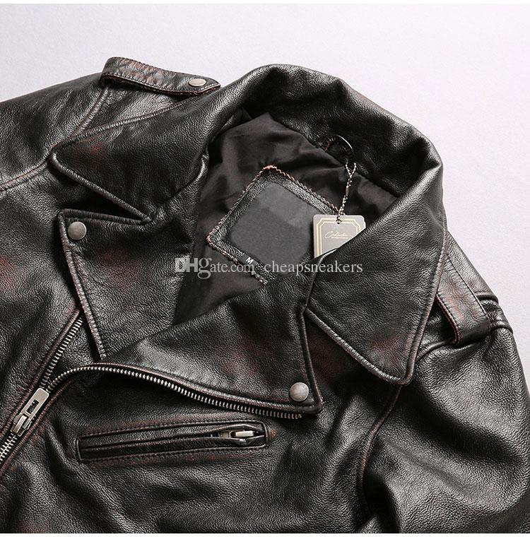 Motorcycle Short Coats suit collar oblique zipper Slim men's Classic leather jacket First layer of genuine leather