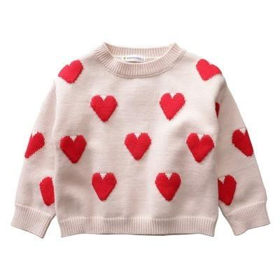 44ce1a9fd Girls Sweaters Casual Love Print Autumn Winter Knitted Baby Pullover ...