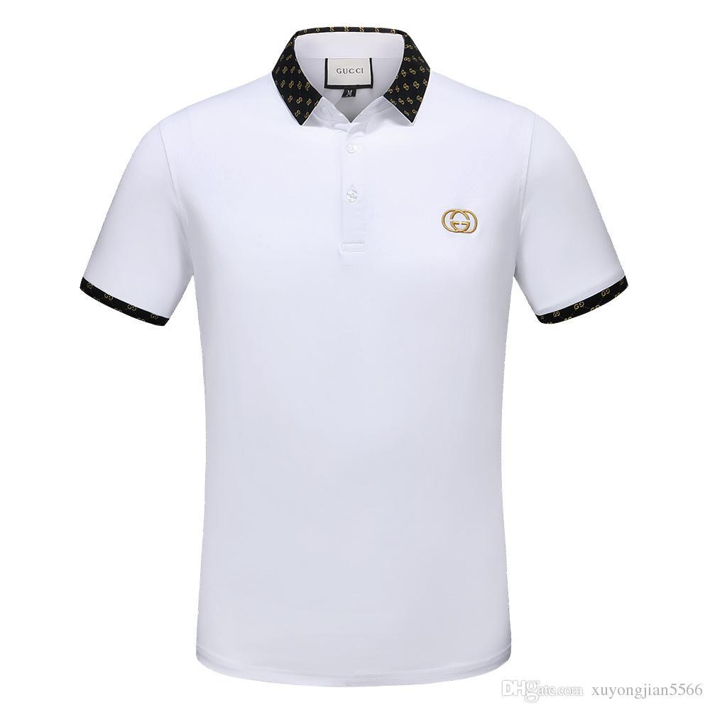 ef9415a6bd959 Compre Diseño De La Camisa Del Polo De Italia 2018 Para Los Hombres Polos  De La Camiseta De Los Hombres De La Manga Corta De La Abeja De La Marca De  Lujo ...