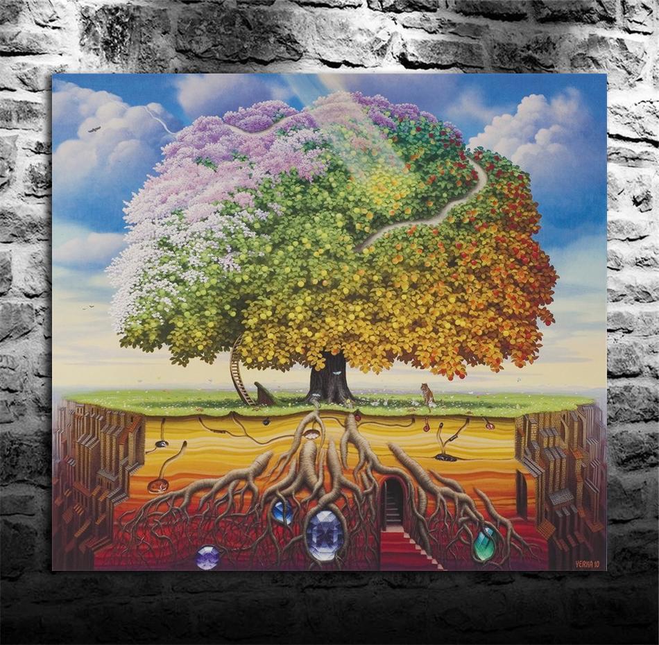 Satın Al Jacek Yerka Tantrik Elma Ağacı 1 Parça Ev Dekorasyonu Hd