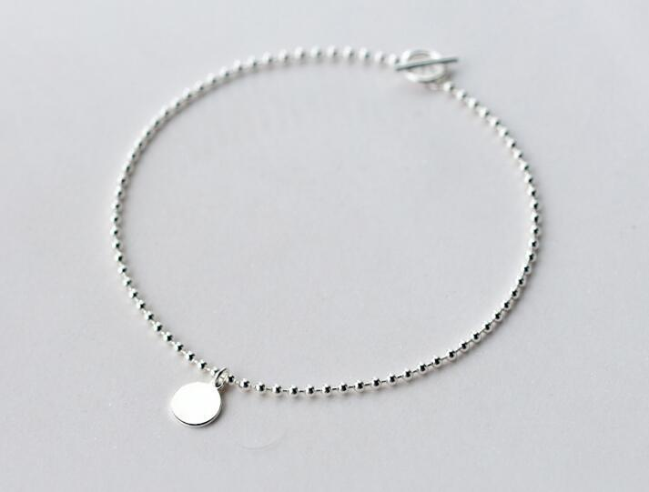 1pc 21cm 100% Real. 925 Sterling Silver Fine Jewelry Polished Coin Round Beads Chain Anklet Bracelet GTLS584 S18101607