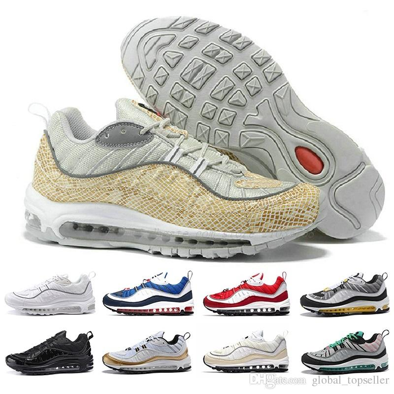 check out 55db8 56101 Acheter Nike Air Max 2018 98 New Fashion Style Classique Hommes Chaussures  Authentique Sport Chaussures De Course Air Coussin Haut Top Sneakers  Chaussures ...