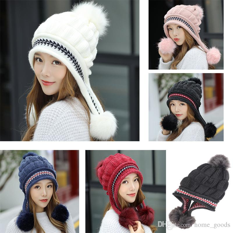 3d73aa55888 Women Fashion Knitted Cap Winter Plush Thick Warm Earmuffs Hat Cute Three  Hair Ball Beanies Hip Hop Outdoor Ski Pom Poms Female Hats Make Your Own  Party Hat ...