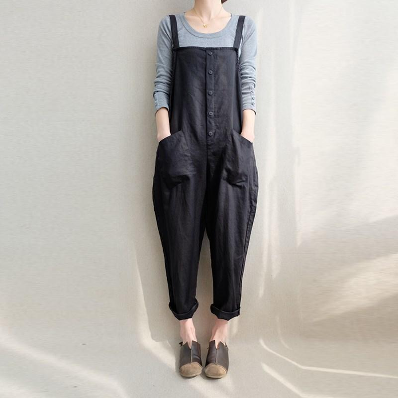 7f1dc8752998 ZANZEA Women Sleeveless Pockets Dungaree Baggy Jumpsuits Overalls Fashion  Strappy Casual Loose Long Harem Pants Bib Trousers Y1891806 Online with ...